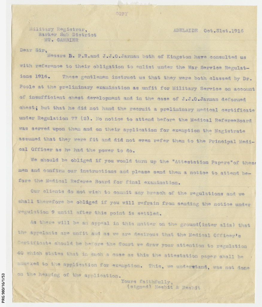 Letter about Jarman brothers' appeal