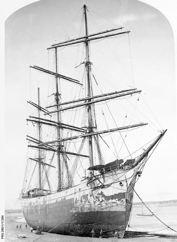 "Sailing ship ""Clenard"" beached on dry land at Port Augusta"