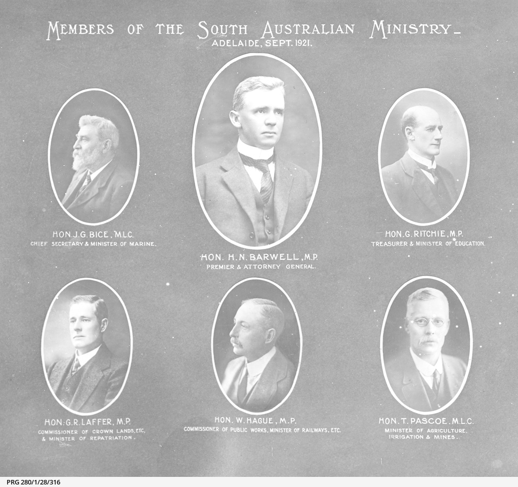 Members of the South Australian Ministry, 1921
