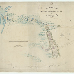 Plan and mean section of the road to the New Port and proposed wharf at Section 'A' [Port Adelaide] [cartographic material] / by G.S. Kingston, Civil Engineer
