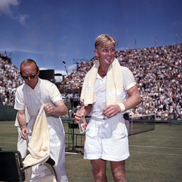 Harry Hopman and Lew Hoad at the Davis Cup, Adelaide