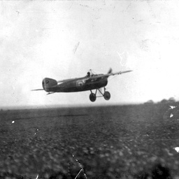 Captain Harry Butler taking off in his aircraft