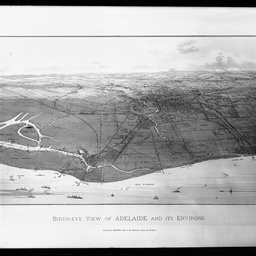 Birdseye view of Adelaide and environs