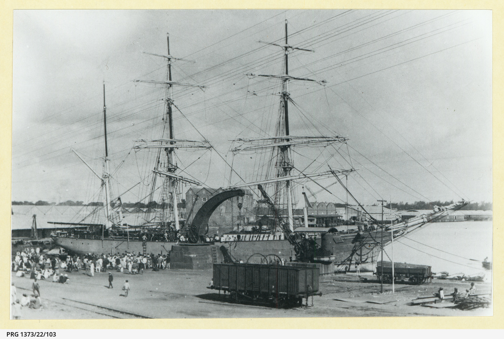 The 'Ione' docked in an unidentified port