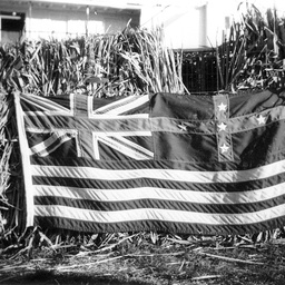 River Murray Flag displayed over a bale of hay on board P.S. Gem