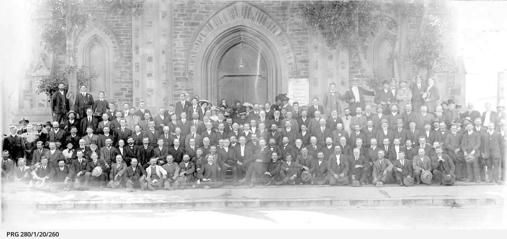 Members of the congregation outside Bethlehem Lutheran Church