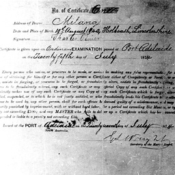 Reverse of Captain Oliver's Masters certificate