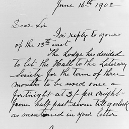 Letter written by the secretary of the Loyal Willunga Lodge