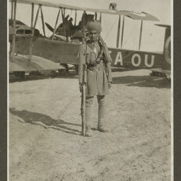 Soldier by the Vickers Vimy.