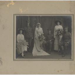 Wedding portrait of Gladys Ellen Symons and Private William Linton Rowett