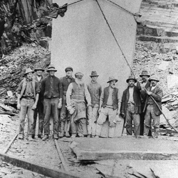 Workers at the Australian Slate Quarry, Willunga