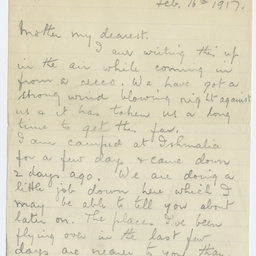 Letters from Ross Smith in World War I camp, Egypt, to his mother