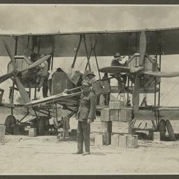 Repairing the Vickers Vimy.