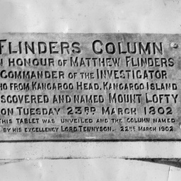 Tablet on Flinders Column at Mount Lofty