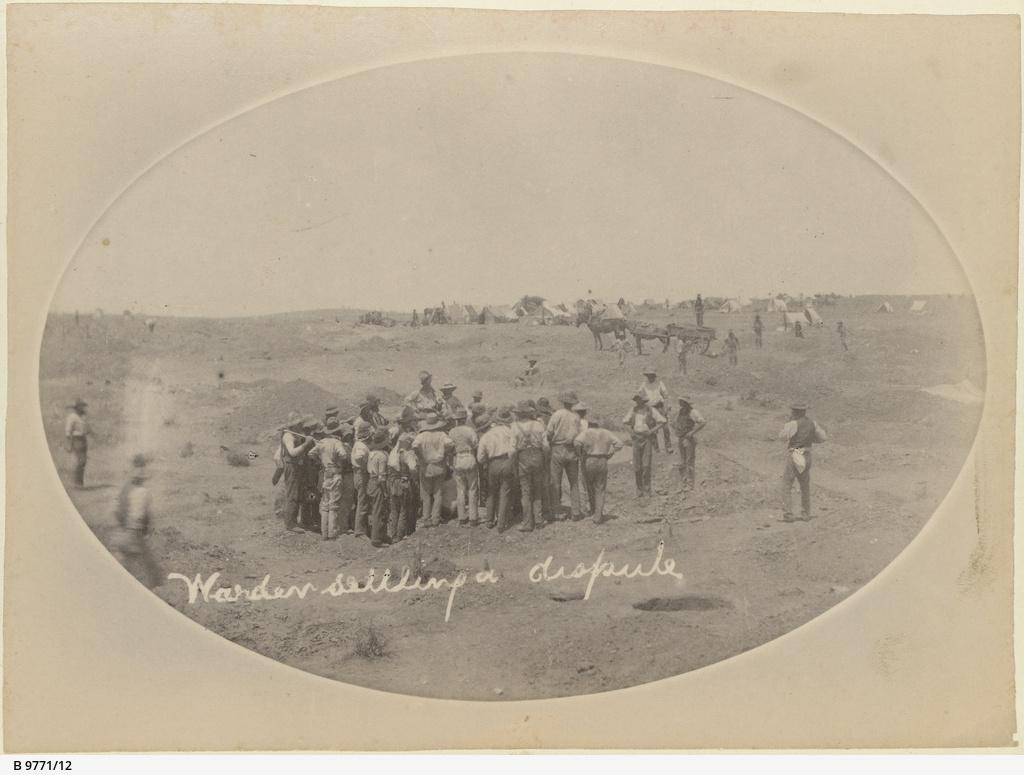 Warden settling a dispute at Teetulpa gold field