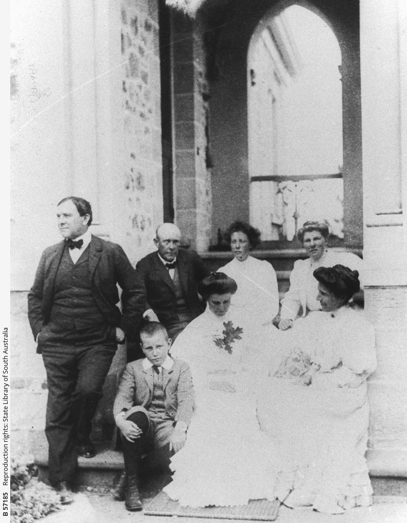 Members of the Waterhouse family outside Mount Lofty House