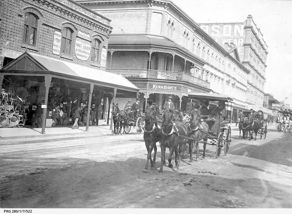 Horse drawn vehicles in Rundle Street east, Adelaide