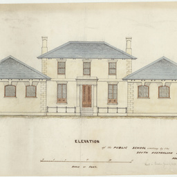 Architectural elevation drawing of building for the South Australian School Society