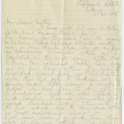 Letter from Ross Smith following World War I to his mother, Cairo