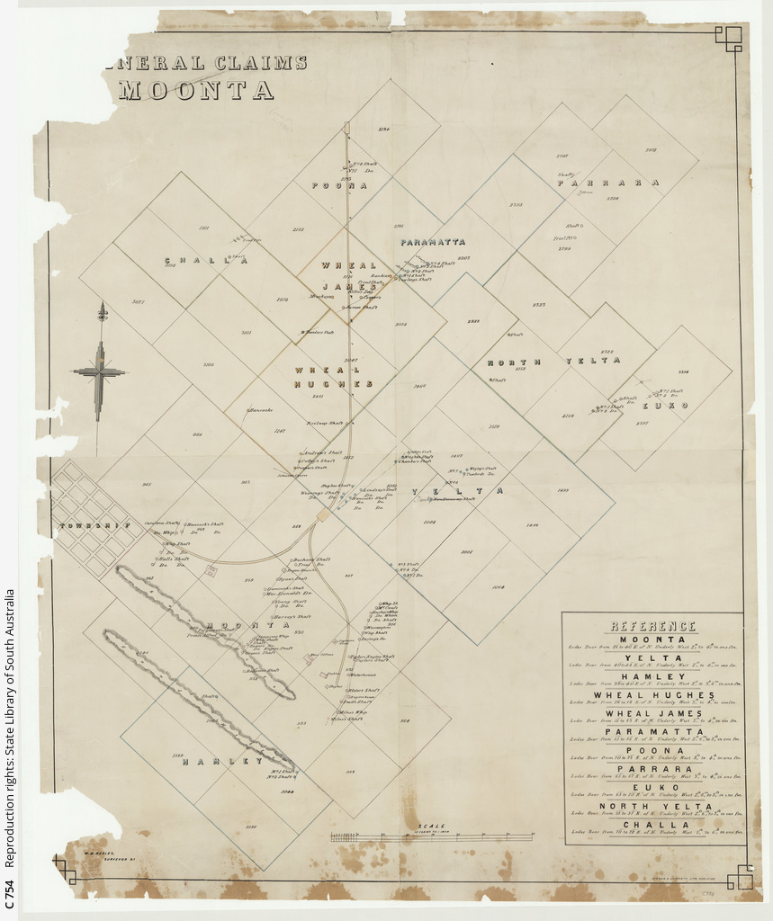 Mineral claims Moonta [cartographic material] / W.B. Neales, Surveyor