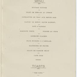 Dinner menu commemorating the first England-Australia flight.
