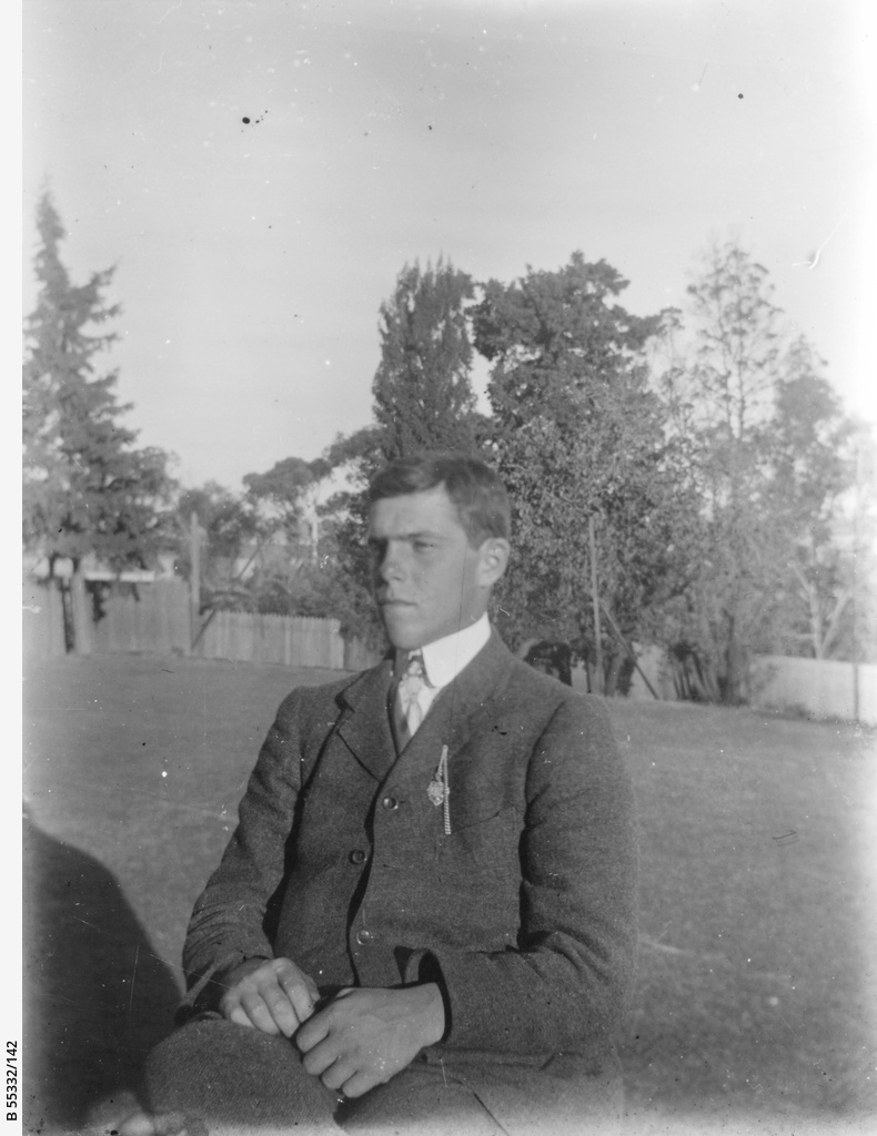 Young man in a garden