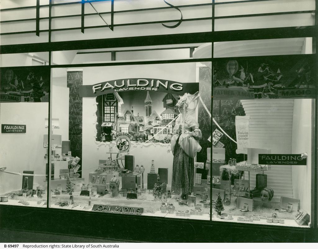 John Martin's window display of Faulding's products