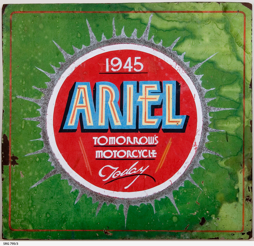 Sign promoting Ariel motorcycles • Realia • State Library ...