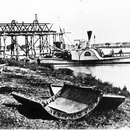 P.S. Blanche at site of bridge construction