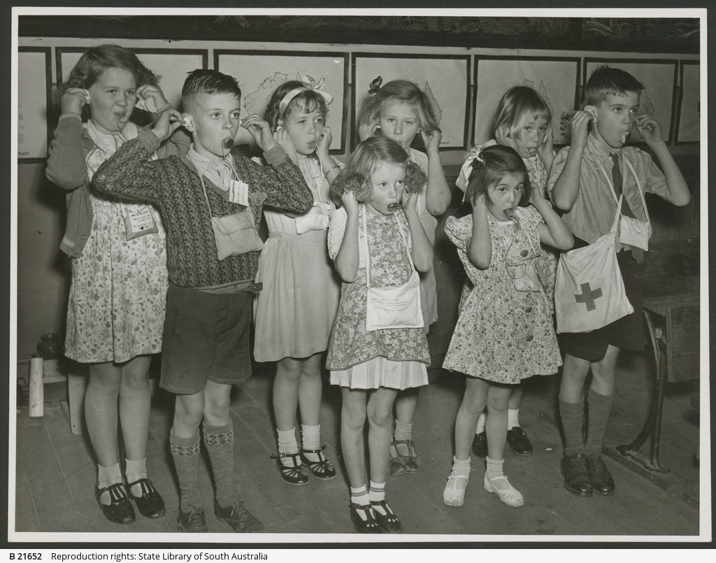 School Children: air raid exercise