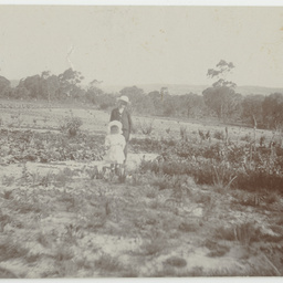 The beginnings of Wittunga farm garden with children Keith and Alison Ashby.