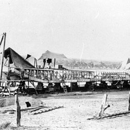 Stern wheeler Captain Sturt under reconstruction at Mannum Quarries