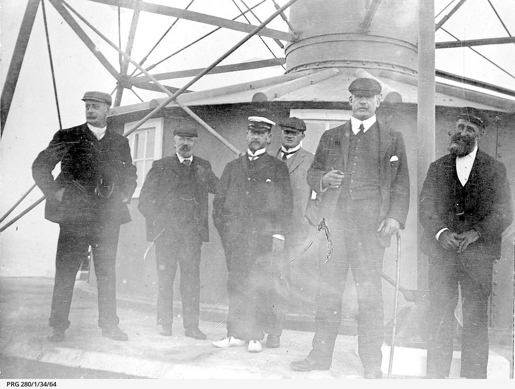 Men at Neptune Island lighthouse
