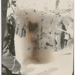 Policemen holding back the crowd at the Vietnam War Moratorium rally
