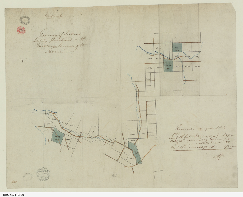 Tracing of Sections lately purchased in the Western Sources of the Torrens [cartographic material]