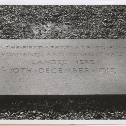 Tablet marking the landing spot of the Vickers Vimy