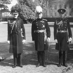 Governor, Sir Willoughby Norrie, with Aide-de-Camp, Captain Richardson and Aide-de-Camp, Captain Farebrother