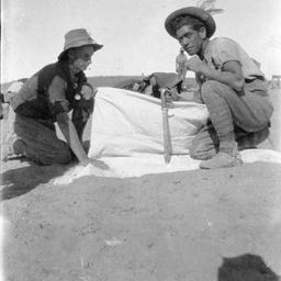 Australian soldier with Turkish bayonet.