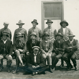 Competitors in a rifle competition