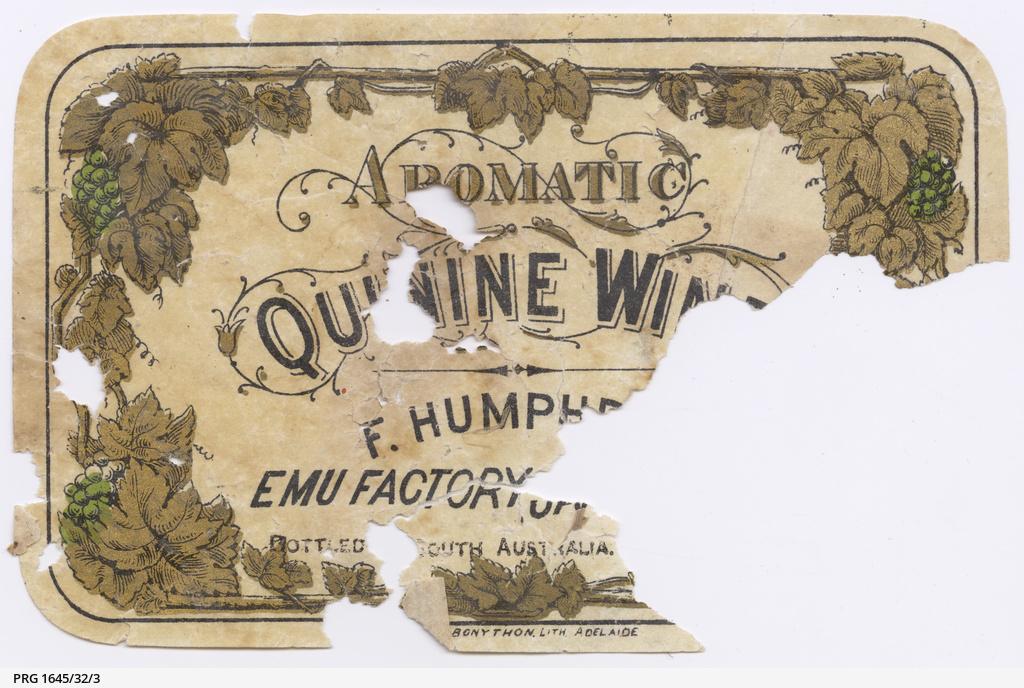 Quinine wine label