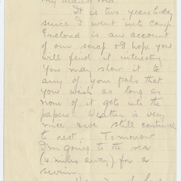 Letter from Ross Smith from Egypt camp during World War I to his mother, and account of the Battle of Romani