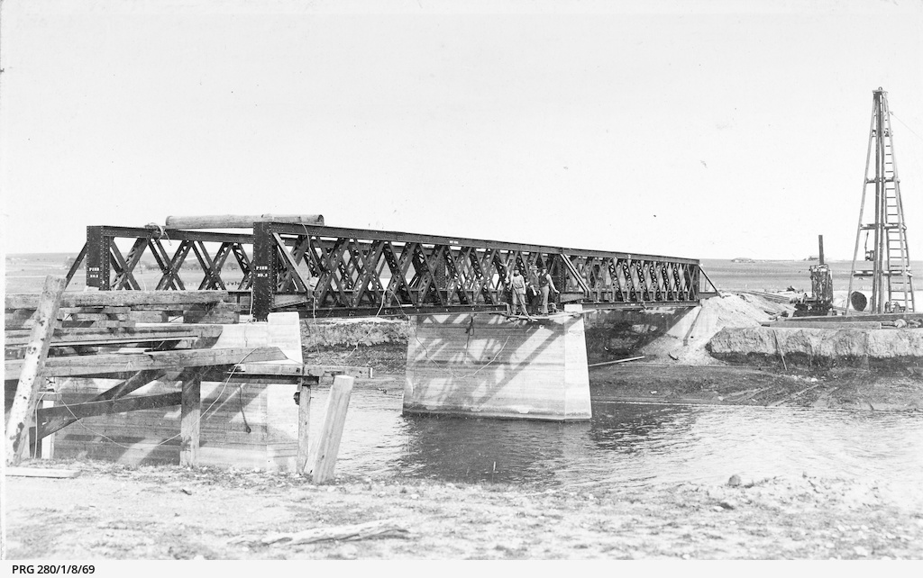 A railway bridge being erected over the onkaparinga River