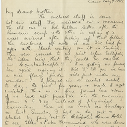 Letter from Ross Smith during World War I to his mother, Abbassia, Cairo