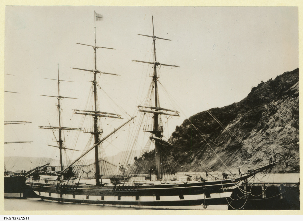 The 'Pareora' moored at Port Chalmers, New Zealand.