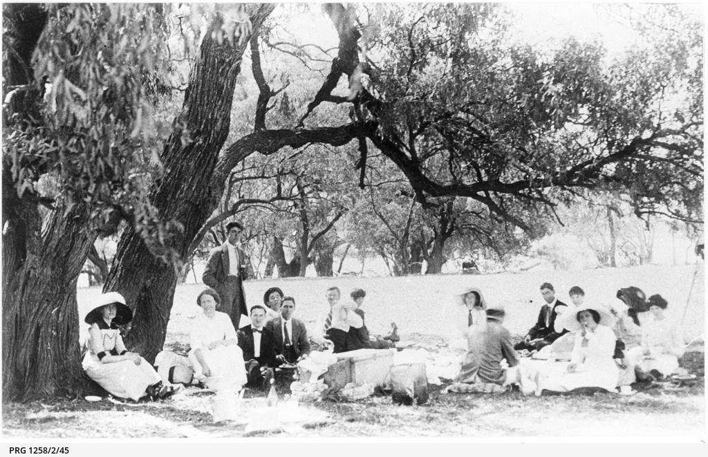 Saies Ltd. staff at a picnic at Lake Bonney
