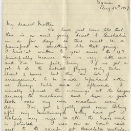 Letter from Ross Smith during World War I to his mother, Syria