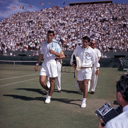 Vic Seixas and Ken Rosewall at the Davis Cup, Adelaide
