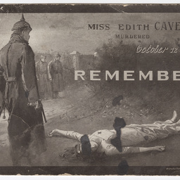 Postcard of Miss Edith Cavell murdered, October 12th 1915, Remember!