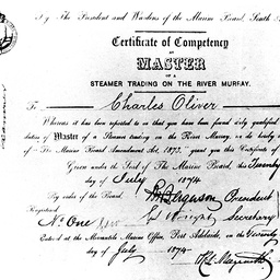 Captain Charles Oliver's Masters certificate