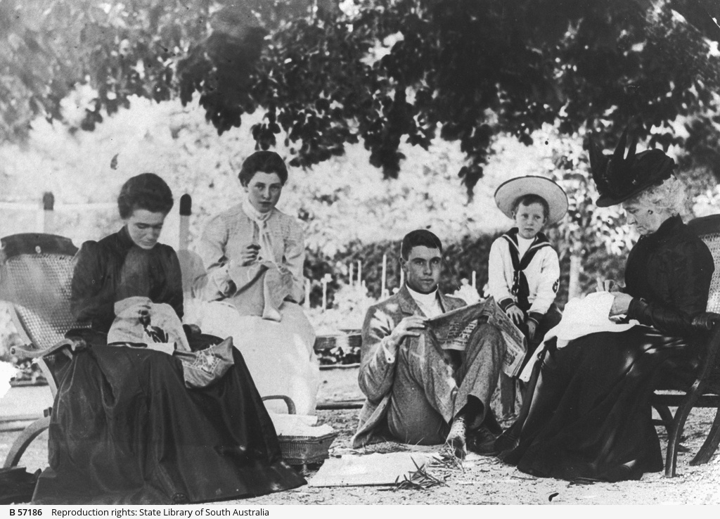Agnes Gosse, Lorna Waterhouse, Jimmy Gosse, Tim Waterhouse and Mrs Weston under the chestnut tree at Mount Lofty House